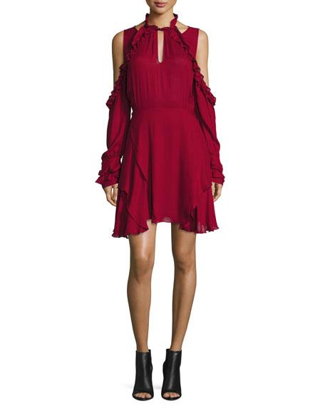 Hanie Cold-Shoulder Voile Dress, Wine