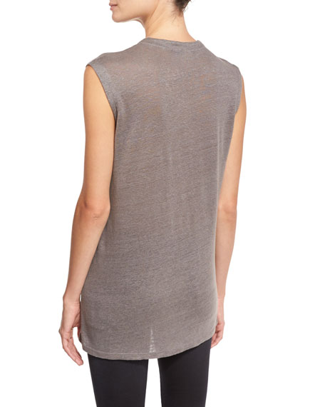 Tissa Laced Linen Jersey Top, Stone Gray