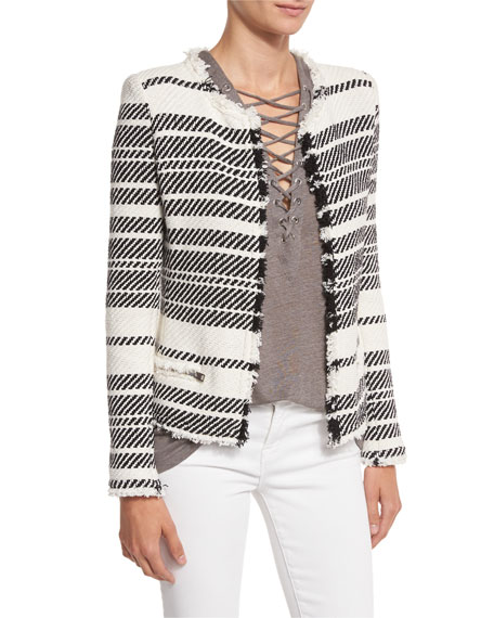 Zlata Striped Textured Jacket, Ecru/Black