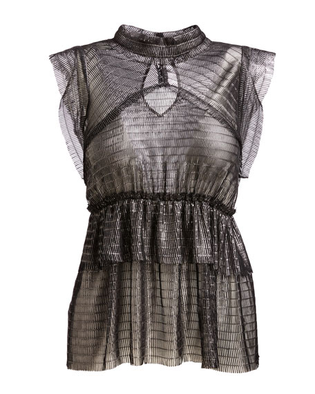 Anmari Sleeveless Tiered Metallic Top, Black/Silver