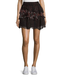 Loey Tiered Printed Voile Skirt, Black/Red