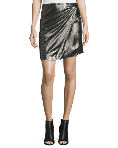 Shanina Draped Lamé Skirt, Black/Silver