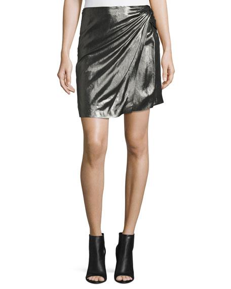 Shanina Draped Lamé Skirt, Black/Silver