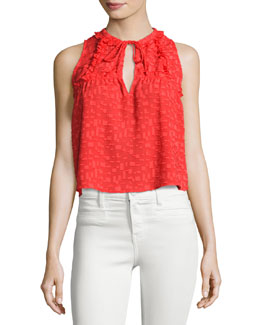 Ragnhild Sleeveless Textured Boxy Top, Red-Orange