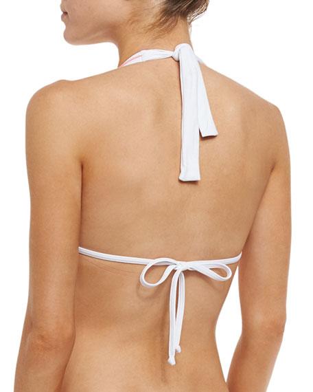 Daisy Lace Bikini Swim Top, Pink Coral