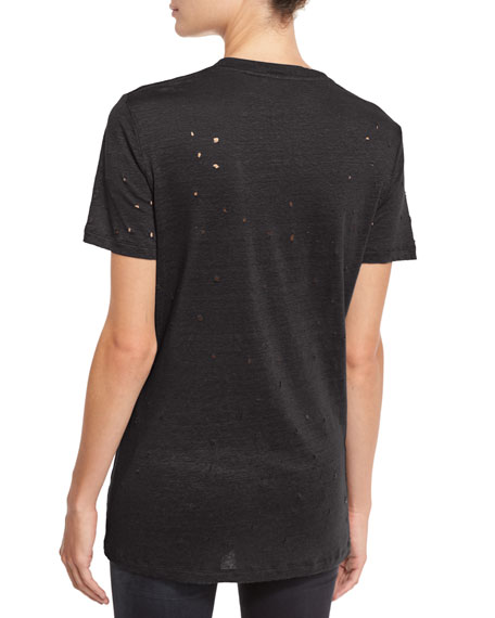 Clay Abstract Distressed Linen Tee, Black