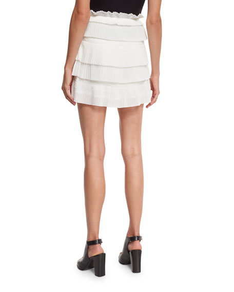 Sevy Tiered Plissé Skirt, White