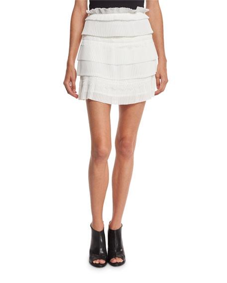 7be06f10d Iro Sevy Tiered Plissé Skirt, White