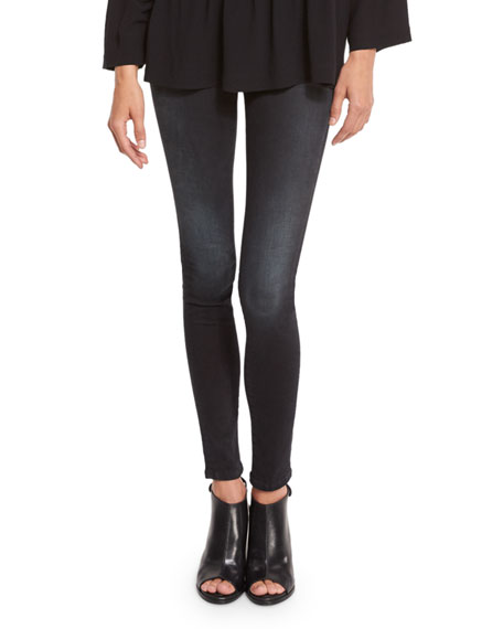 First Faded Skinny Ankle Jeans, Black