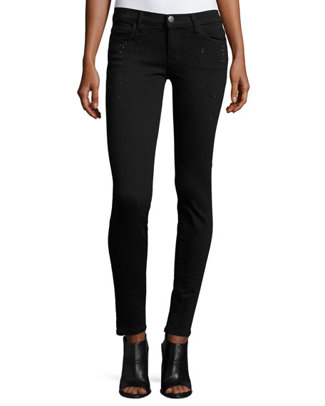 The Ankle Skinny Jeans w/Rhinestones, Jet Black