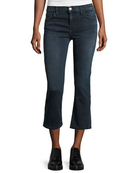 Current/Elliott The Kick Flare-Leg Cropped Jeans, City Slicker