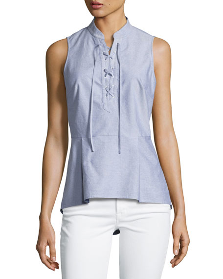Lace-Up Oxford Shirting Top, Blue