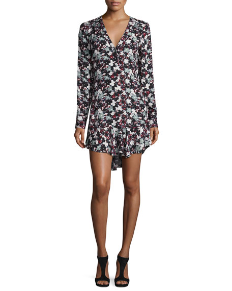 Franklin Floral Silk Flounce Dress, Black/Navy/Red/White