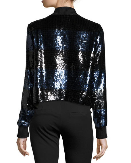 Lexington Sequin Bomber Jacket, Black/Blue