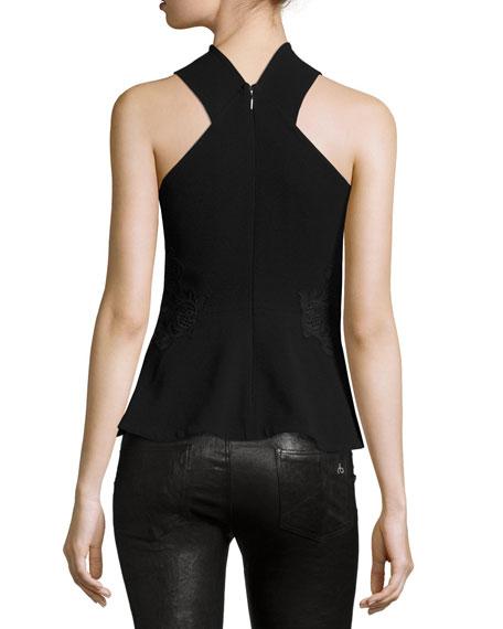 Crepe & Lace Twist-Front Top, Black