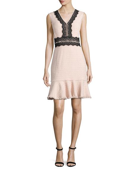 Rebecca Taylor Tweed Contrast-Lace Sleeveless Dress, Ballerina