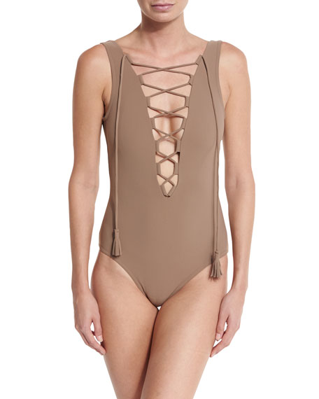 Entwined Plunge Lace-Up One-Piece Swimsuit, Latte