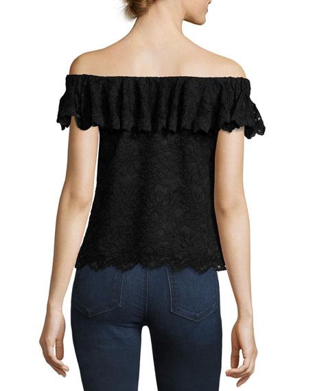 Off-the-Shoulder Floral Lace Top, Black
