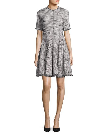 Short-Sleeve Fringe-Trim Boucle Tweed Fit & Flare Dress,
