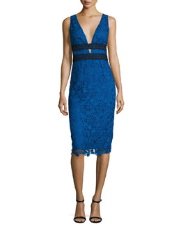 Viera Lace Sleeveless V-Neck Sheath Dress, Neptune Blue/Black