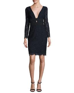 Viera Lace Long-Sleeve V-Neck Cocktail Dress, Deep Night/Black