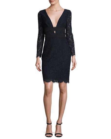 Diane von Furstenberg Viera Lace Long-Sleeve V-Neck Cocktail