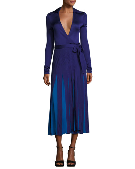 Stevie Colorblock Midi Wrap Dress, Azurite Blue/Neptune Blue