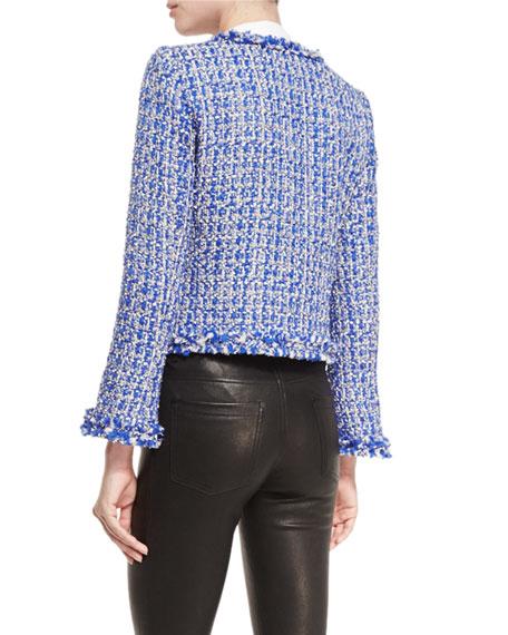 Nila Tweed Frayed-Hem Box Jacket