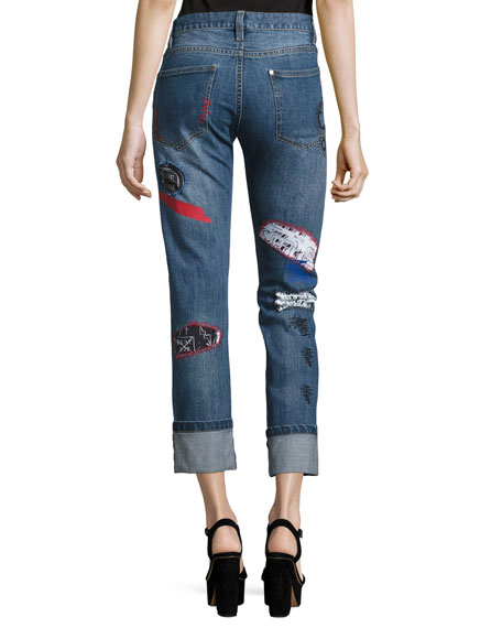 Hanna Distressed Patchwork Cuffed Jeans