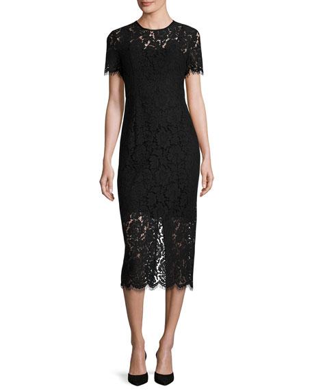 Carly Short-Sleeve Lace Midi Dress, Black