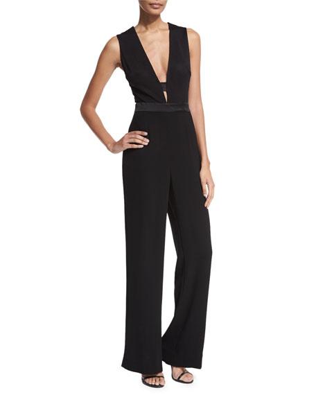 Diane von Furstenberg Kyara Plunge-Neck Tuxedo Jumpsuit, Black