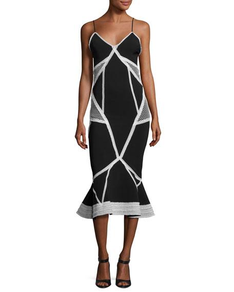 Contrast Lace-Insert Sleeveless Dress, Navy/White