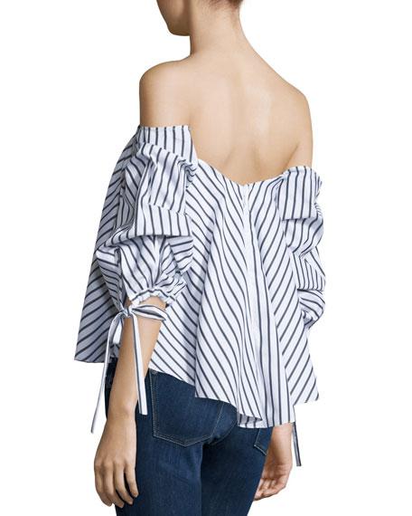 122a649729742 Caroline Constas Gabriella Off-The-Shoulder Striped Bustier Top