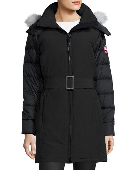 Rowan Hooded Fur-Trim Parka, Black/Graphite