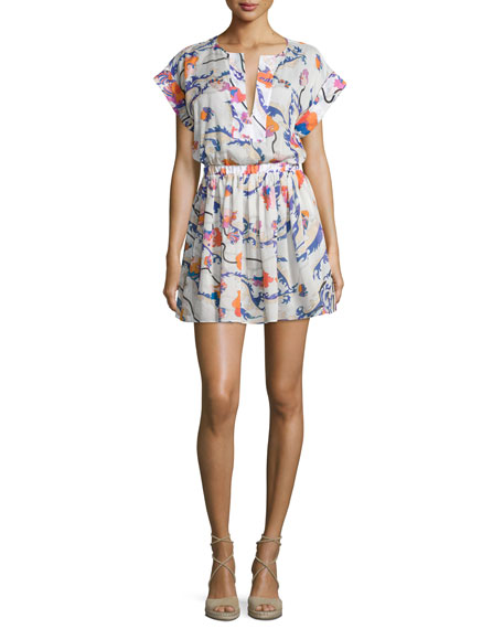 Emilio Pucci Ranuncoli Cotton Voile Coverup Dress, White/Pink