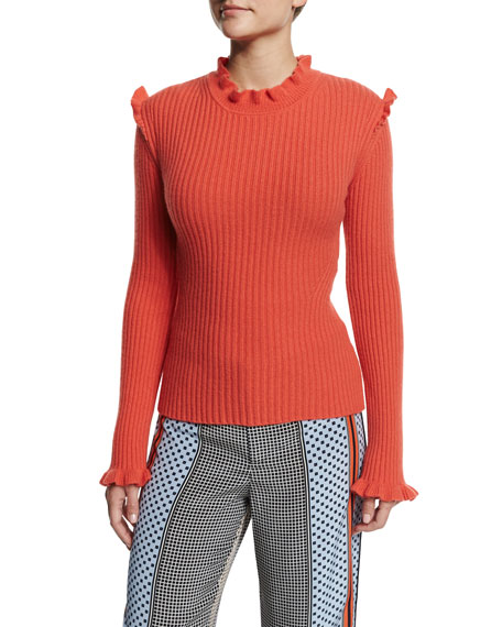 Image 1 of 1: Ribbed Cashmere Ruffle-Trim Sweater, Bright Coral
