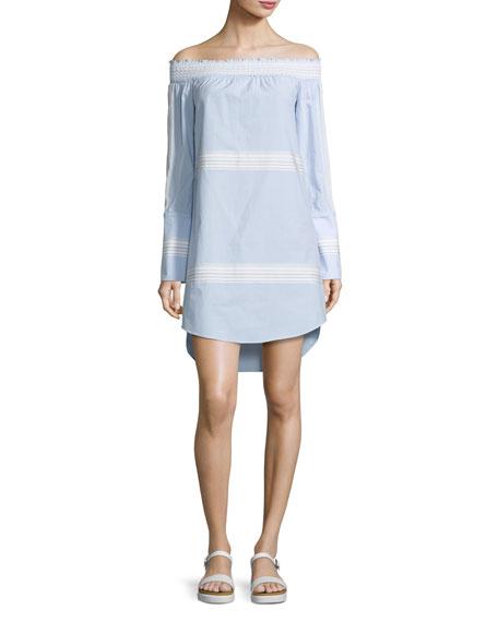 Off-the-Shoulder Poplin Shift Dress, Oxford