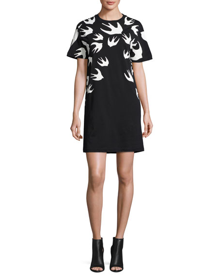 Great Deals Sale Online Buy Cheap Amazing Price Swallow print dress - Black Alexander McQueen Shipping Discount Authentic Sale With Credit Card lovJhOVeu