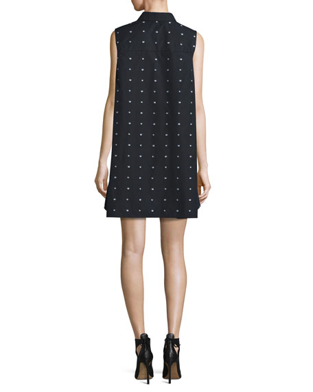 Poplin Swallow-Print Ruffle Shirtdress, Black
