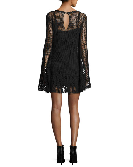 Long-Sleeve Macrame Mini Dress, Darkest Black