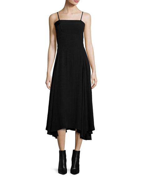 Flared Fluid Open-Back Midi Dress, Black