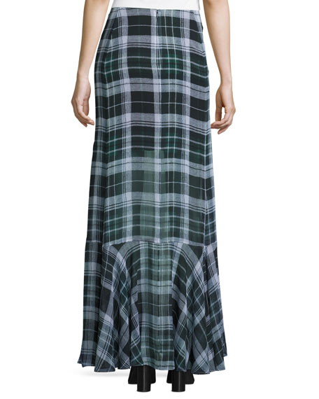 Flared Fluid Plaid Silk Maxi Skirt, Green
