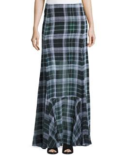 Flared Fluid Plaid Silk Maxi Skirt, Green
