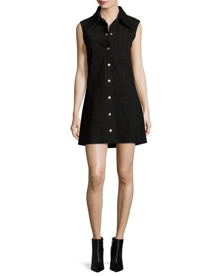 McQ Alexander McQueen Marianne Sleeveless Suede Mini Dress,