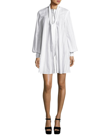Long-Sleeve Pinstriped Poplin Tunic/Dress, Ivory
