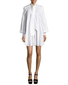 Long-Sleeve Pinstriped Poplin Tunic/Dress, Ivory