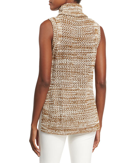 Sleeveless Crochet Turtleneck Top, Tobacco/White