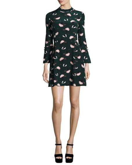 Derek Lam 10 Crosby Bell-Sleeve Floral A-Line Dress,