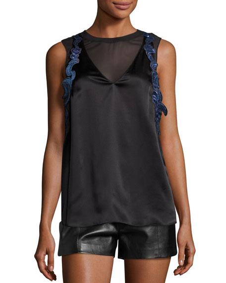 Sleeveless Lace-Trim Satin Slip Top, Black