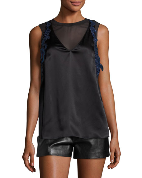 3.1 Phillip Lim Sleeveless Lace-Trim Satin Slip Top,